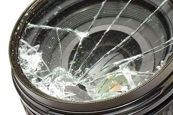 lente quebrada lentes da câmera fotográfica, como cuidar?