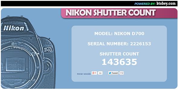 Nikon Shutter Count resultado Artigo Quanto dura minha máquina digital Shutter count   Afinal, quanto dura minha máquina digital?