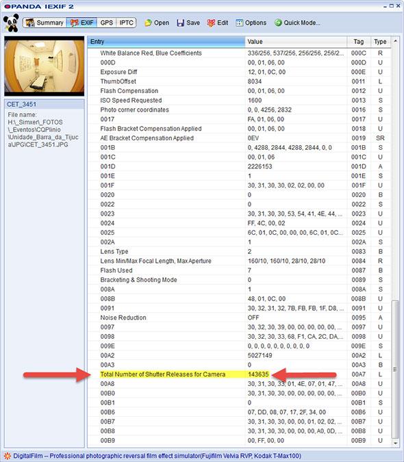 OPanda iExif Resultado Low Artigo Quanto dura minha máquina digital Shutter count   Afinal, quanto dura minha máquina digital?