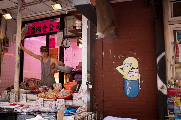 Shop, Chinatown, Nova York. Observe a borda direita.