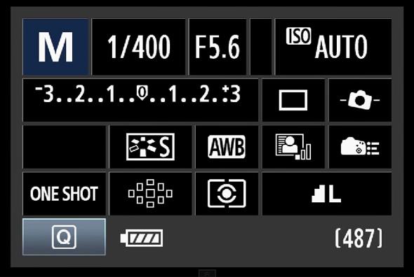 Visualização do Painel de acesso rápido - Canon 60D