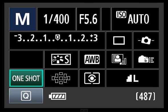 Painel de Acesso Rápido do Botão Q - Ponto AF OU Modo de Foco