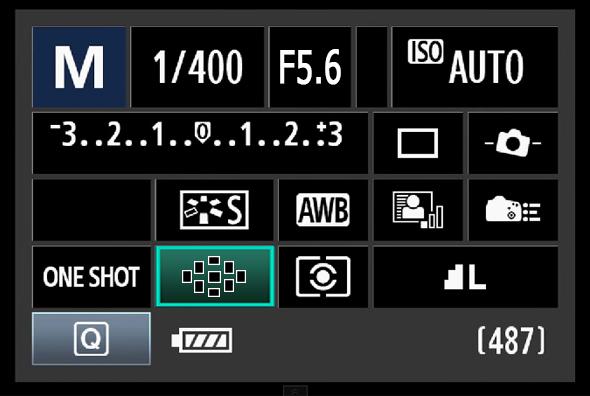 Painel de Acesso Rápido do Botão Q - Ponto AF OU Modo de área AF