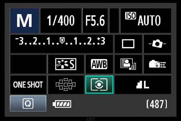 Painel de Acesso Rápido do Botão Q - Modos de Medição
