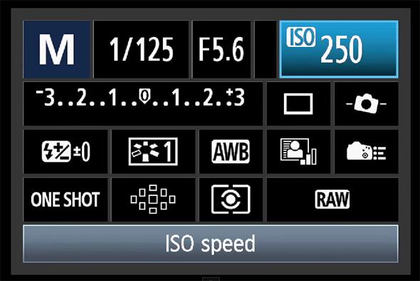 Valor de ISO selecionado - Painel de Acesso Rápido do Botão Q