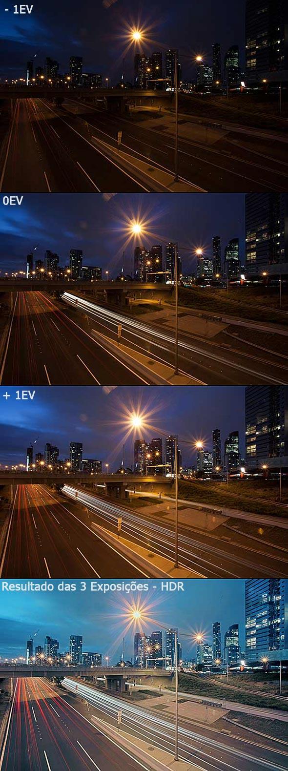 Subexposição (-1EV), Exposição Neutra (0EV), Superexposição (+1EV), e as três imagens combinadas. ©A. Wise