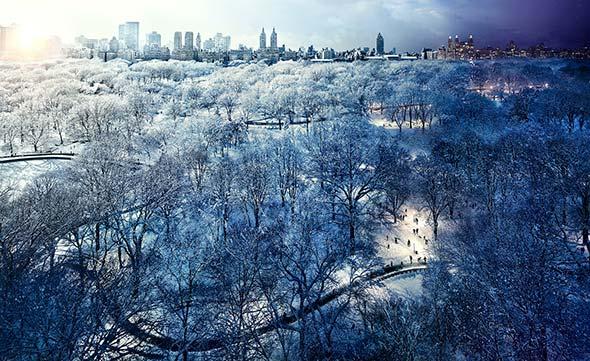 Central Park Snow NYC Low A Passagem do Tempo Capturada em uma Única Foto