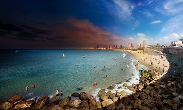 Tel Aviv Israel Low A Passagem do Tempo Capturada em uma Única Foto