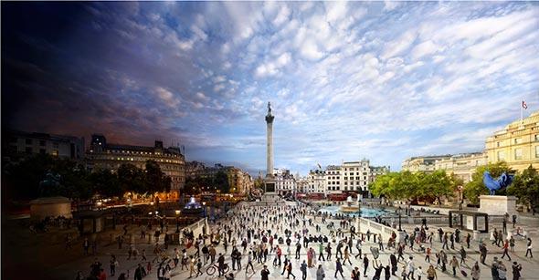 Trafalgar Square London Low A Passagem do Tempo Capturada em uma Única Foto